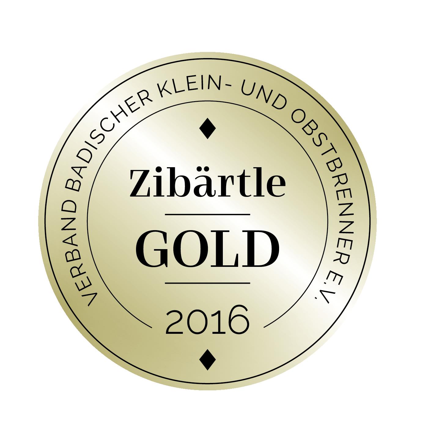 Edeldestillat Auszeichnung Zibärtle gold